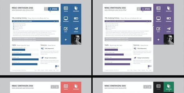 Flat Resume - Virtual Business Card PSD