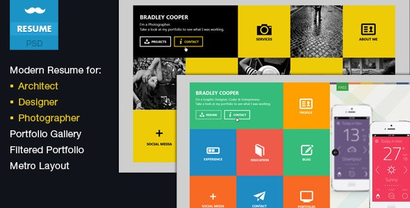 Cooper- Multicolor Flat Professional Resume PSD - Virtual Business Card Personal