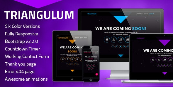 Triangulum – Responsive Coming Soon Template - Under Construction Specialty Pages
