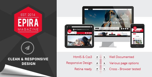 Epira Magazine HTML5 template - Creative Site Templates
