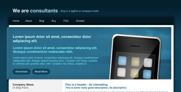 Agency Site - Blue - Corporate Photoshop