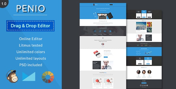 Penio-Responsive Email Template With Editor - Newsletters Email Templates