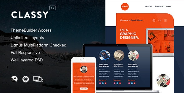 Classy - Responsive Email + Themebuilder Access - Newsletters Email Templates