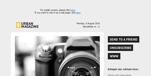 Urban Magazine - Newsletter & Alert Template