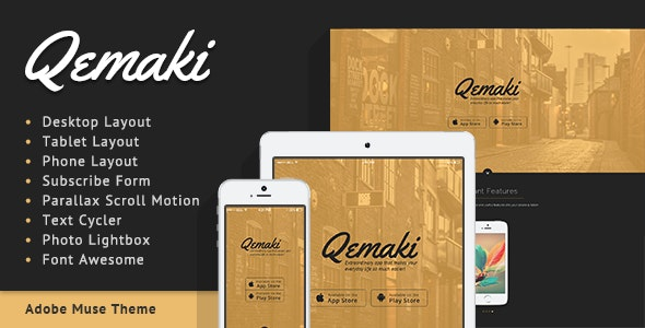 Qemaki - App Landing Page - Landing Muse Templates