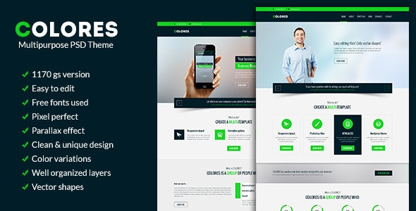 Colores - Multipurpose PSD Theme - Corporate Photoshop
