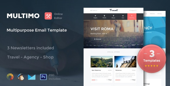 Multimo - 3 Email Templates + Online Editor - Newsletters Email Templates