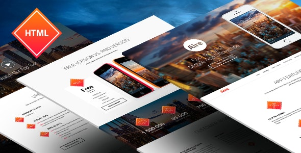 Aire - App Landing Page HTML5/Less Template - Apps Technology