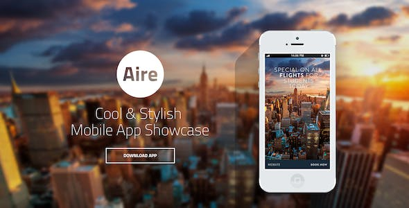 Aire - App Landing Page HTML5/Less Template