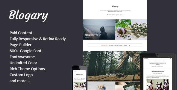 Blogary Paid Content Blog Magazine WordPress Theme - Blog / Magazine WordPress
