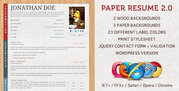Paper Resume / CV by norbiu | ThemeForest