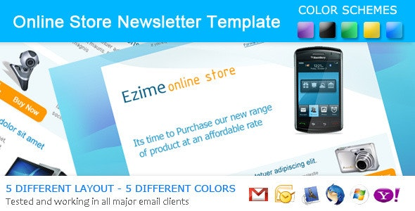 Ezime Online Store Newsletter – 5 Different Layout - Newsletters Email Templates