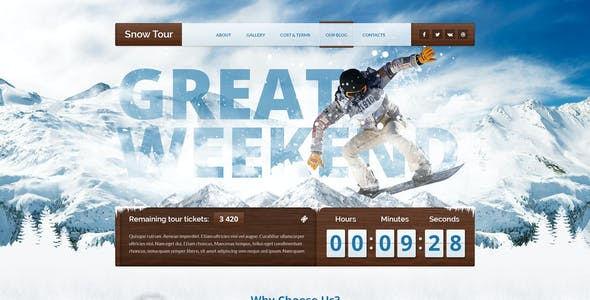 Snow Tour - Responsive Winter Travel Landing Page