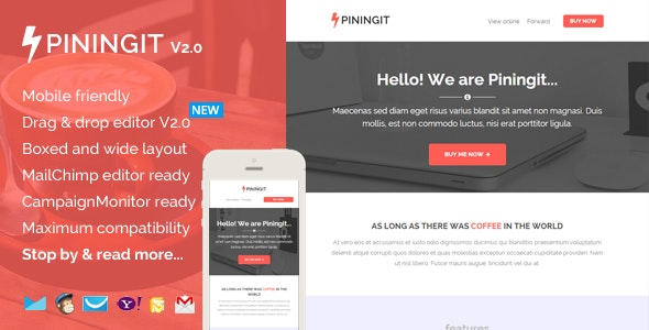 Piningit, Responsive Email with Template Builder - Email Templates Marketing
