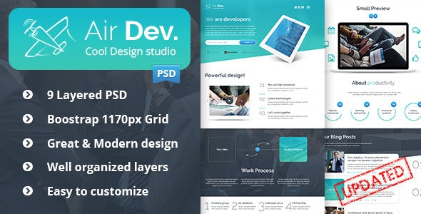 Air Dev. - One Page PSD Template - Creative Photoshop