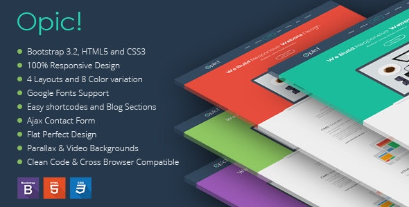 Opic! Flat One Page Responsive Template - Creative Site Templates