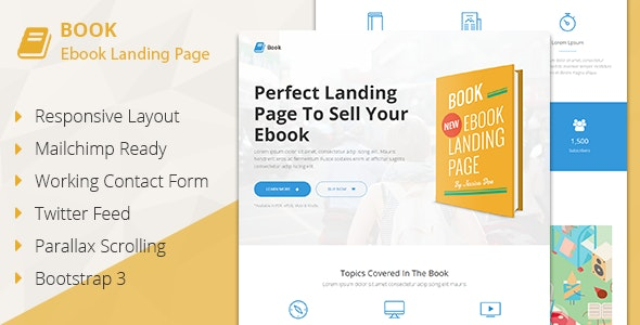 Book - Responsive Ebook Landing Page - Marketing Corporate