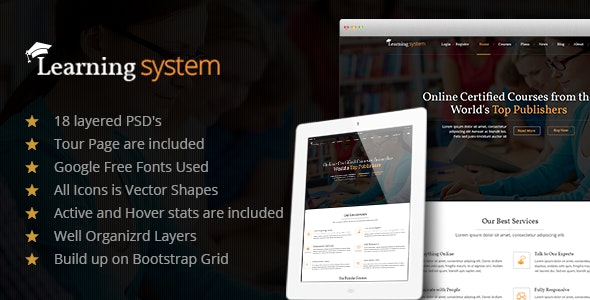 Learning System PSD Template - Corporate Photoshop