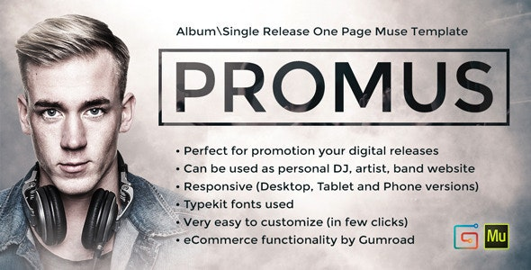 Promus - Music Album Release / DJ / Band / Musician Onepage Muse Template - Miscellaneous Muse Templates