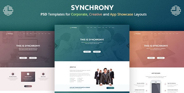 Synchrony - A Single-Page PSD Template - Photoshop UI Templates