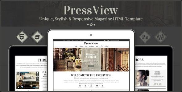 PressView - Vintage and Stylish Magazine Template - Entertainment Site Templates
