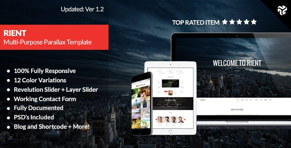 Rient | Multi-Purpose Parallax Landing Page - Site Templates
