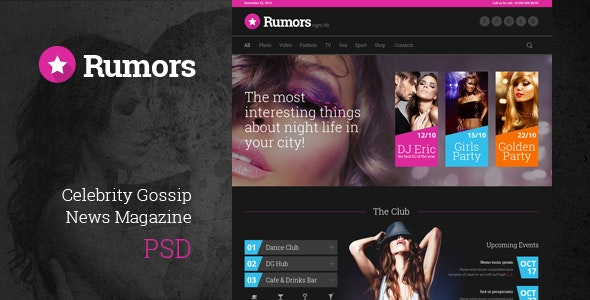 Rumors - Celebrity Gossip PSD Template - Entertainment Photoshop