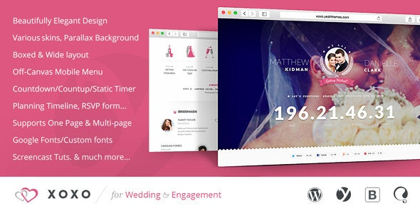 XOXO - Beautifully Elegant Wedding WordPress Theme - Wedding WordPress
