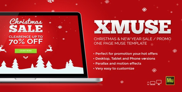 XMuse - Christmas Sale / Promo Muse Template - Landing Muse Templates