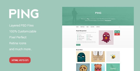 Ping - Minimal Responsive HTML Template - Photo Gallery Personal