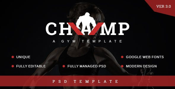 Champ - Gym, Fitness PSD Template