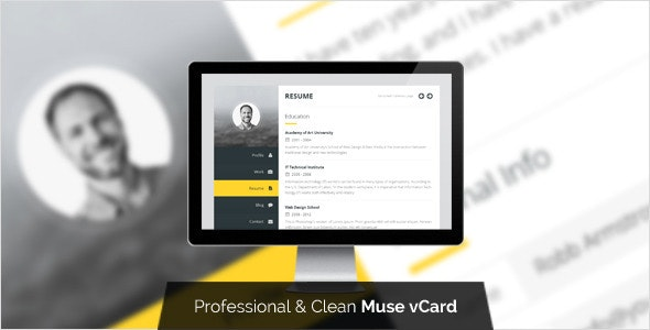 Premium Layers: Muse vCard & Resume Template - Personal Muse Templates