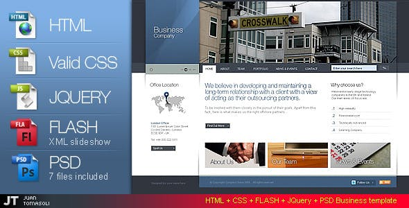 HTML + CSS + FLASH + PSD Business template version