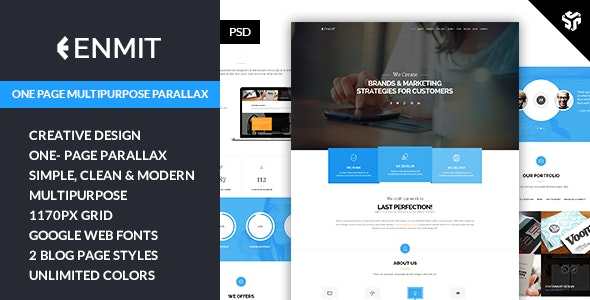 ENMIT - One Page MultiPurpose Parallax - Creative Photoshop
