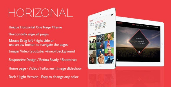 Horizonal - Single Page / One Page WordPress Theme - Creative WordPress