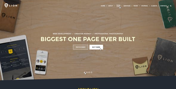 Lion - Multipurpose One Page PSD Template