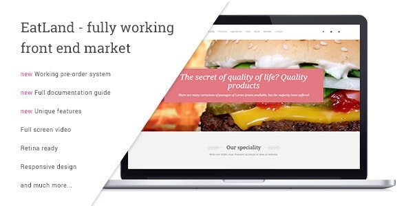 Eatland Ecommerce And Delivery Landing Page By Vsart Themeforest