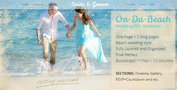 On Da Beach - Wedding One Page PSD Template  - Events Entertainment