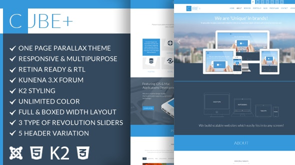 Cube+ | One Page Parallax Joomla Theme - Business Corporate