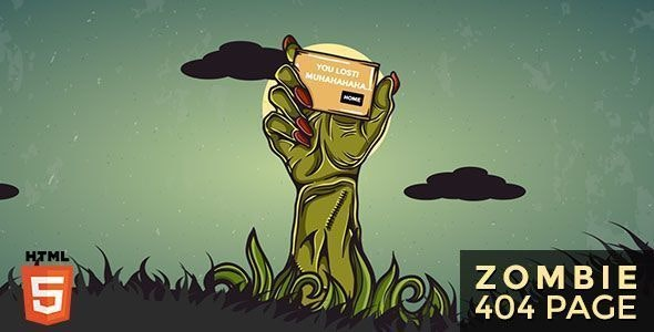 Zombie - Animated 404 Page - 404 Pages Specialty Pages