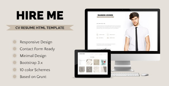Hireme - Responsive Resume Template  - Resume / CV Specialty Pages
