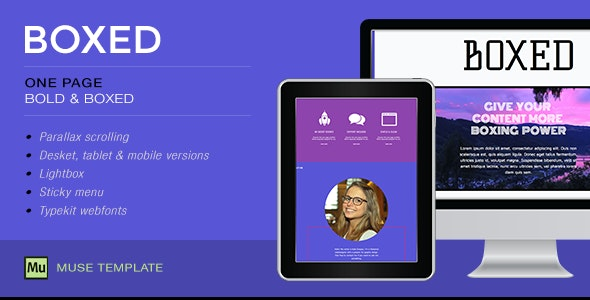 Boxed - One Page Muse Template - Creative Muse Templates