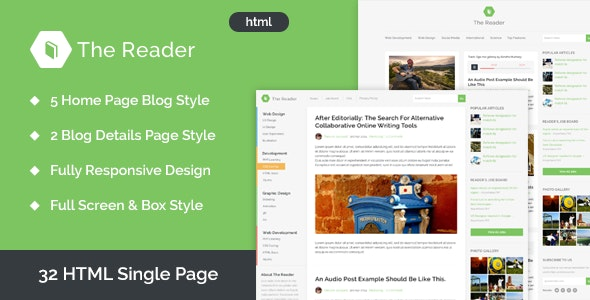 The Reader Minimal Blog HTML Template - Corporate Site Templates