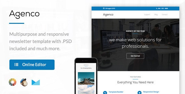 Agenco - Responsive Email Template + Themebuilder Access - Newsletters Email Templates