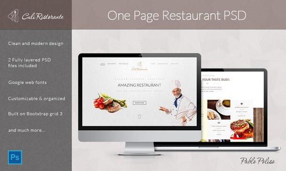 Culi Ristorante - One Page Restaurant PSD Template - Food Retail