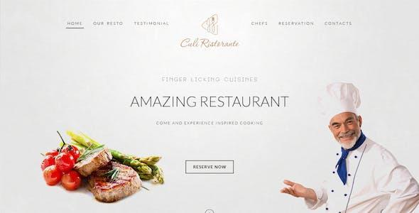 Culi Ristorante - One Page Restaurant PSD Template