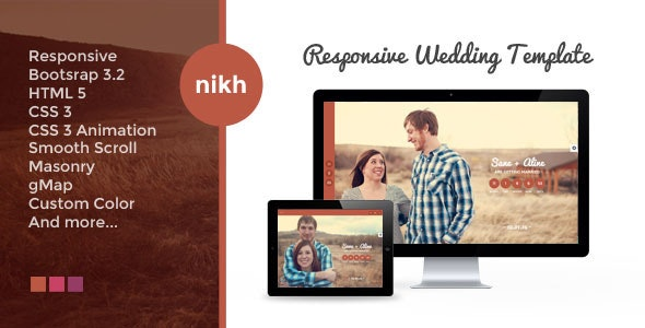 NIKH - Responsive HTML Wedding Template - Wedding Site Templates