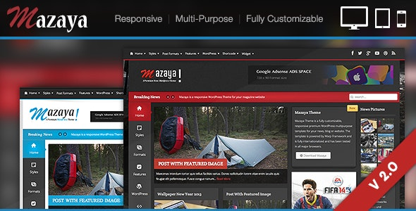 Mazaya Responsive WordPress News, Magazine Theme - News / Editorial Blog / Magazine