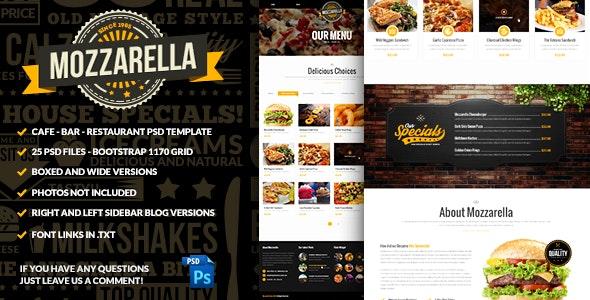 Mozzarella Cafe Bar PSD Template  - Food Retail