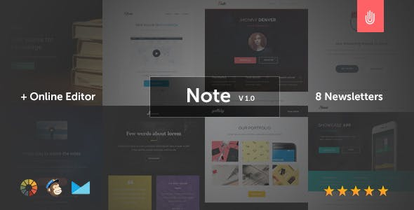 Note - 8 Responsive Email Templates + Online Editor